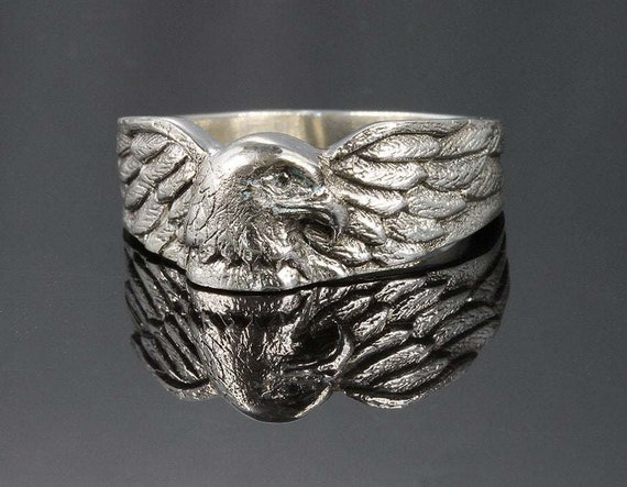 Eagle Ring Sterling Silver Handmade ring american eagle mens jewelry gift for him holiday gift ideas Christmas Made in the USA