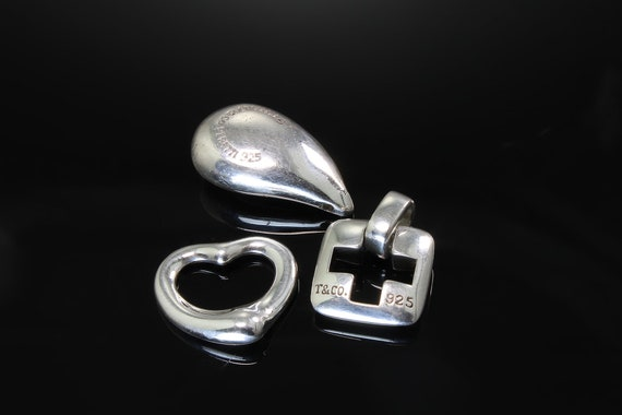 Vintage Trio of Tiffany and Co sterling silver pendants, Elsa Peretti Spain heart, teardrop cross no chain great gift idea