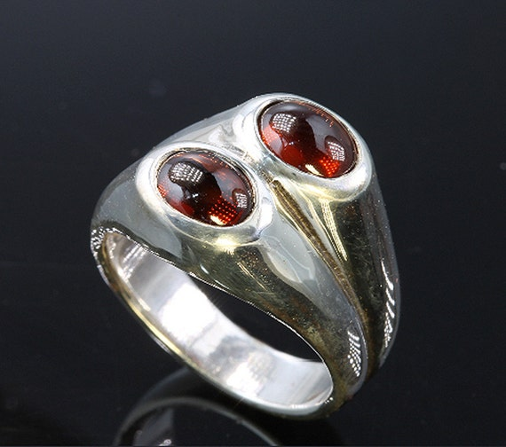Sterling Silver and Cabochon Garnet Ring by Cavallo Fine Jewelry