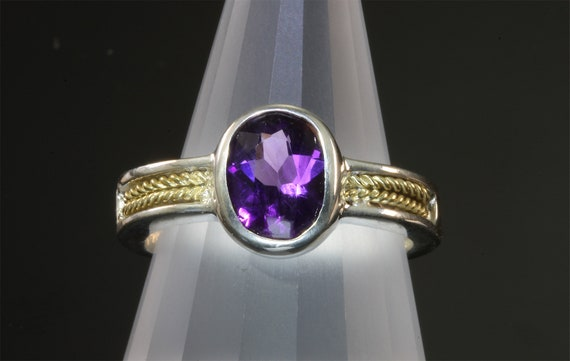 Sterling Silver 18K Yellow Gold Awesome Purple Amethyst Ring Handmade by Cavallo Fine Jewelry February Birthstone