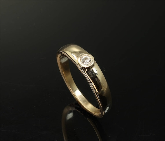 Engagement ring bezel set diamond solitaire 14K yellow gold, handmade ring, stackable wedding band quarter carat diamond, sparkles