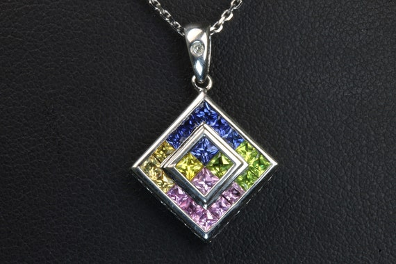 """10K white gold pendant and 18"""" chain square princess cut sapphires multicolored gift for her, Mothers day birthday gift September birthstone"""