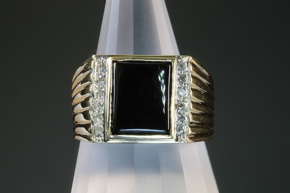 14K yellow gold gents black onyx and diamond ring, Fathers day gift, gift for him, classic gentleman, mens jewelry mens fashion
