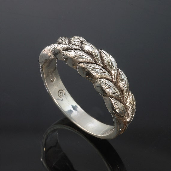 Handmade Sterling Silver Sage Leaf Ring, herb jewelry, leaves floral design, unisex jewelry, great gift idea