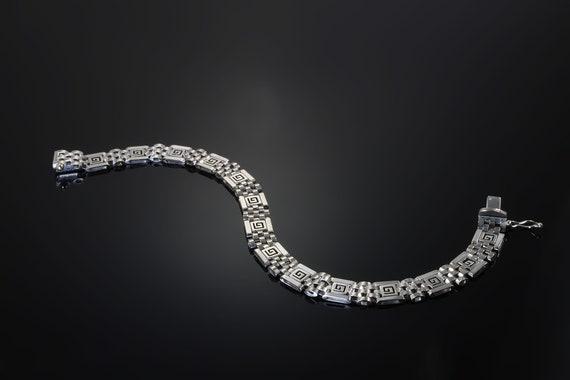 Vintage estate 14K white gold man's greek key 8' bracelet, great gift for him, everyday day, retro men's vintage jewelry, gentlemen's gift