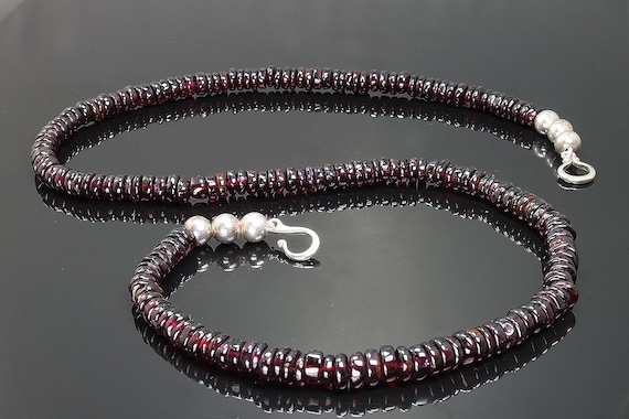 Sterling Silver and Smooth Garnet Rondelle Necklace by Cavallo Fine Jewelry