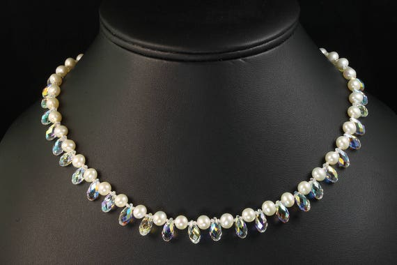 "Fresh Water Pearl and Swarovski Crystal Briolettes ""Snow Necklace"" by Cavallo Fine Jewelry"