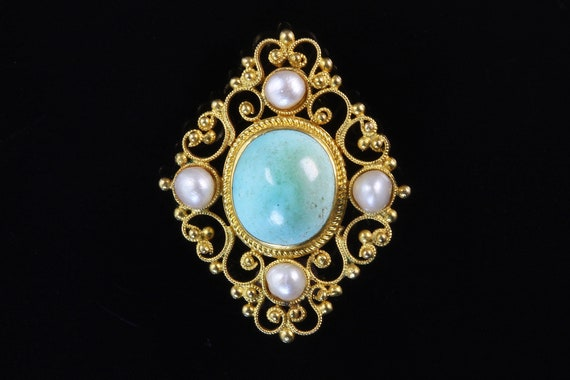 Victorian Etruscan revival style 14K gold filigree brooch turquoise pearl Mothers Day gift womans fashion vintage jewelry vintage pin