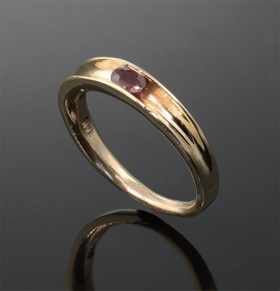 Stackable 14K Yellow Gold Ruby Ring by Cavallo Fine Jewelry