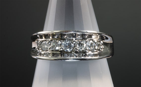 14K White Gold and Diamond Concave Wedding Band by Cavallo Fine Jewelry