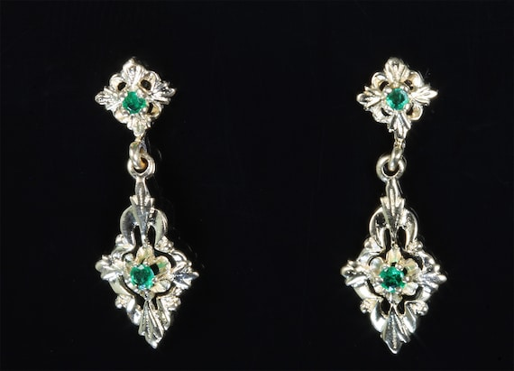 Vintage 14K yellow gold ornate drop dangle earrings with emeralds, green gems, May birthstone Christmas gift idea womens fashion