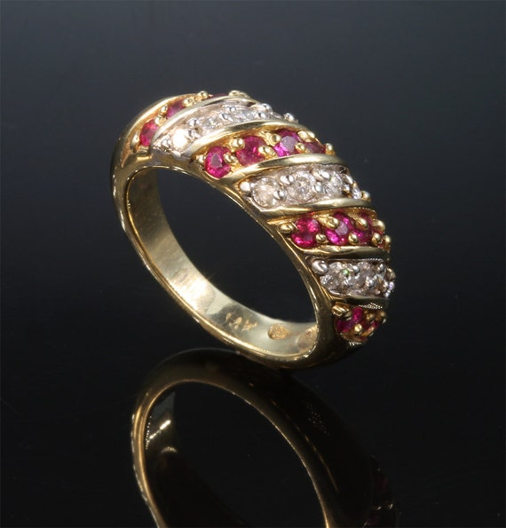Diamond and Ruby Striped 14K Gold Ring by Cavallo Fine Jewelry