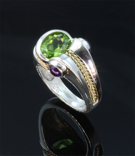 Sterling Silver, 18K Gold, Peridot and Amethyst Ring by Cavallo Fine Jewelry