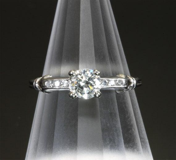 Vintage Platinum .50 tcw diamond ring, engagement ring, wedding anniversary gift, April birthstone, sparkles galore!