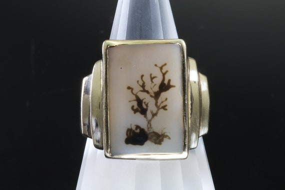 Vintage Dendritic Agate 14K Yellow Gold Ring, unisex unique jewelry, gift for anyone, natural art