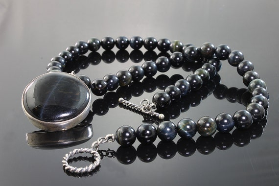 Blue Tiger's Eye Beaded Necklace with Blue Tiger's Eye Pendant by Cavallo Fine Jewelry