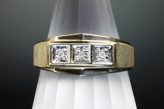 10K Yellow and White Gold Three Diamond Gents Vintage Mid Century Wedding Band
