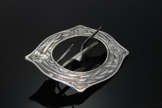 Vintage! Sterling Silver Art Nouveau Woman's Scarf Buckle