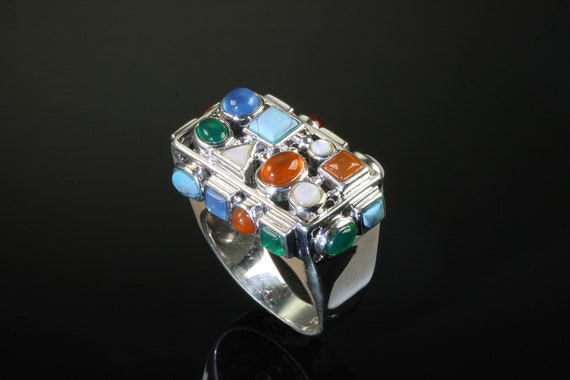 Vintage sterling silver multi cabochon gemstone 'Confetti' ring, festive unisex unique colorful statement jewelry for anyone!