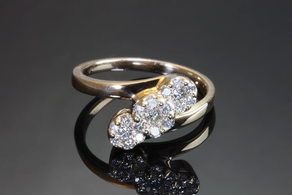 Vintage 14K yellow gold .69 tcw diamond ring, sparkling flowers, gift for her, any finger any occasion, treat yourself