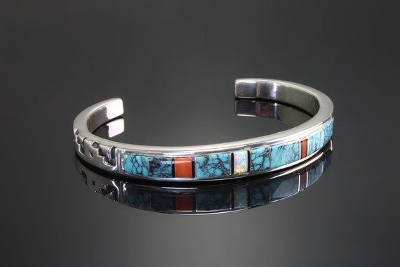 Sterling Silver cuff bracelet by artisan Cecil Ashley, inlaid turquoise coral onyx opal, vintage jewelry, southwestern, Navajo