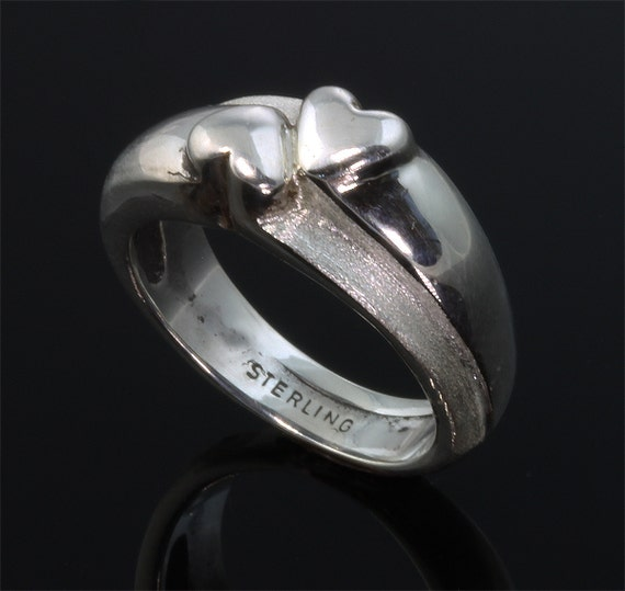 Sterling Silver Two Hearts Ring by Cavallo Fine Jewelry