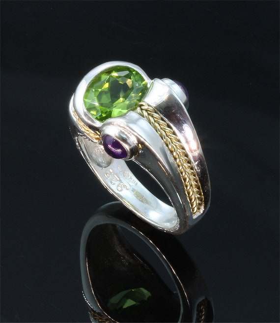Sterling Silver, 18K Gold, Peridot and Amethyst handmade Ring, unisex jewelry artisan great gift idea for anyone, colorful, wearable art