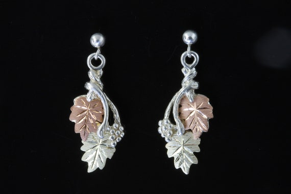 Vintage sterling silver and two tone 12K gold Black Hills Gold earrings, dangle drops, floral, leaves, gift for her