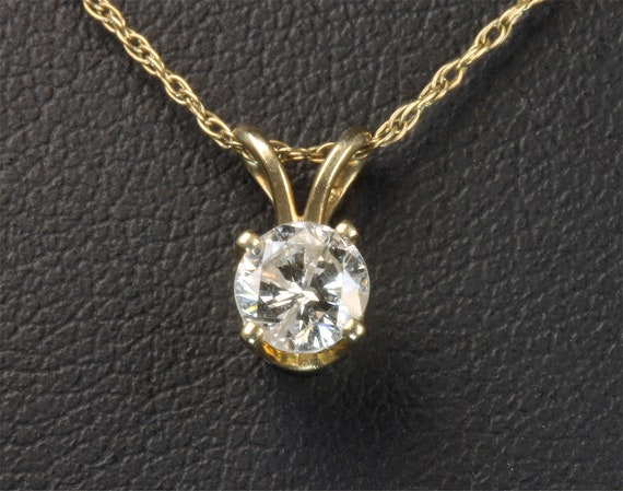 "Diamond solitaire pendant 14K yellow gold 20"" 14K chain included, 36 points eyeclean, sparkles. Mothers day gift birthday gift for her"