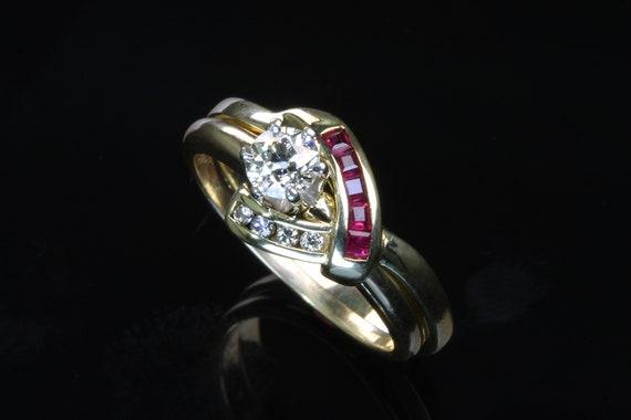 Diamond and Ruby Wedding Set Bridal Set Wedding Rings Red Rubies Diamond Engagement Ring Solitaire Round Diamond Ring Ruby Diamond Insert