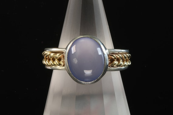 Sterling Silver and 14K Gold Ring with Blue Chalcedony Cabochon by Cavallo Fine Jewelry