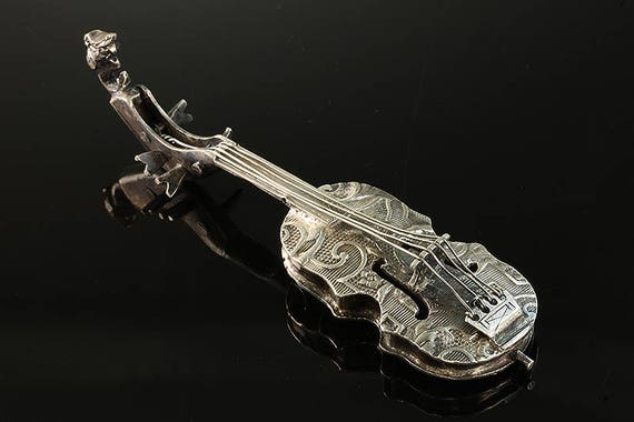 Sterling Silver Ornate Miniature Cello