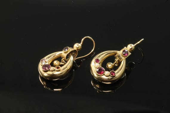 18K Yellow Gold Etruscan Revival Earrings with Garnets and Pearls