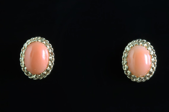 Vintage 14K Yellow Gold Salmon colored Coral stud earrings, gift for her, feminine classic style , elegant ear candy