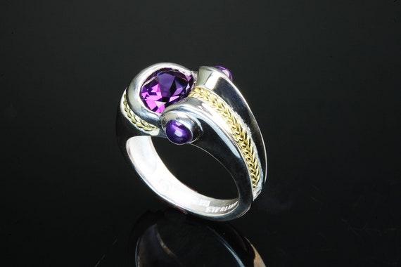Sterling Silver, 18K yellow gold amethyst handmade ring, unisex jewelry purple gemstone, February birthstone unique statement jewelry design