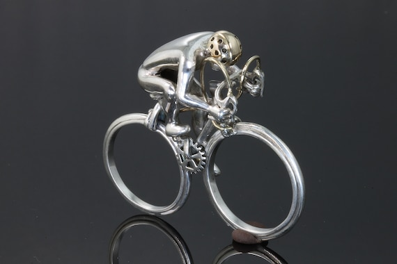 Handmade Two Finger Bicycle Ring© by Cavallo Fine Jewelry, sterling silver 14K yellow gold, unisex jewelry, cyclist, Tour de France