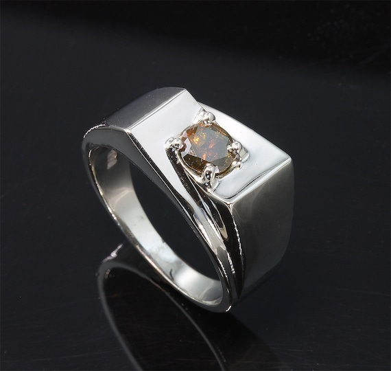 14K White Gold Mans Ring with Cognac Diamond by Cavallo Fine Jewelry