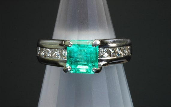 14K white gold ring, sea foam green square emerald, princess cut diamonds, gift for her, Christmas, Mays birthstone, one size only