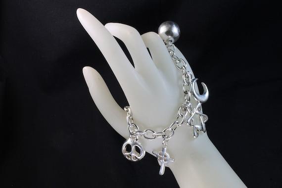 "Vintage rare Sterling silver Robert Lee Morris charm bracelet, fabulous jingly 7"", feminine symbols Christmas gift idea for her"