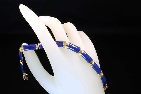 Vintage 14K Yellow Gold and Lapis Lazuli Bracelet