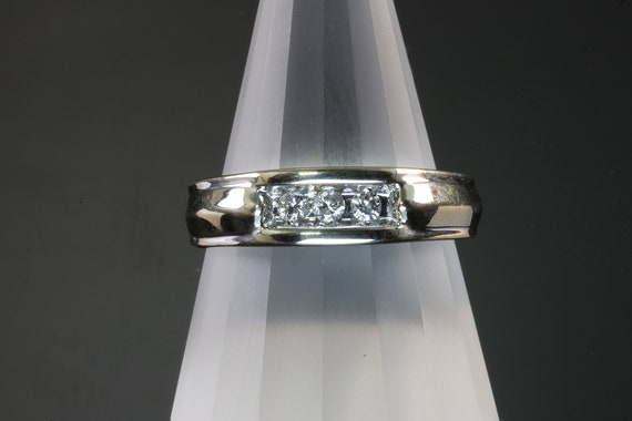 Vintage 14K White Gold Mens Three Diamond Ring