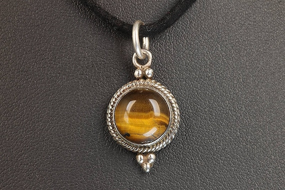 Vintage! Sterling Silver Tiny Pendant with Tiger's Eye and Black Suede Necklace