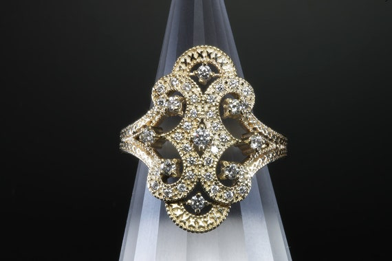Vintage ornate diamond 14K yellow gold cocktail ring, X's  Wow! treat yourself, April birthstone, over the top! statement jewelry