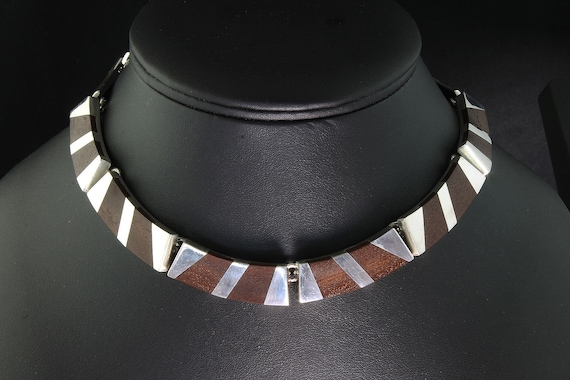 RARE! Antonio Belgiorno sterling silver wood choker, collectible jewelry, elegant comfortable to wear awesome gift for her!