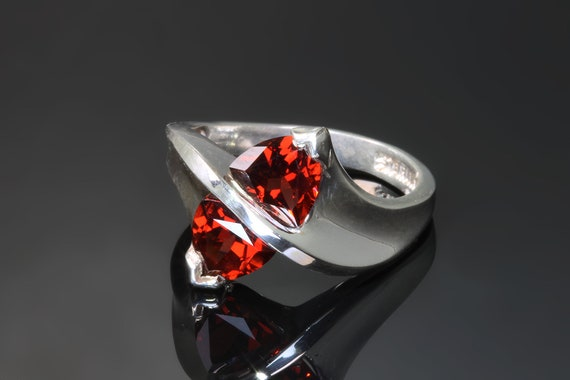 Garnet Ring, Two Trillion Mozambique Red Garnet Handmade Ring by Cavallo Fine Jewelry, Holiday Gift Idea, Sterling Silver, Gift For Her