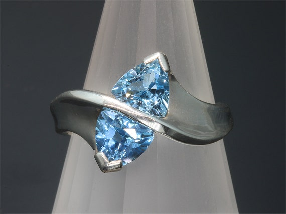 Sterling Silver and Trillion Swiss Blue Topaz Ring by Cavallo Fine Jewelry