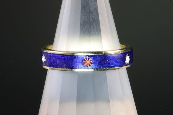 Blue enamel 14K yellow gold band, unique ring, vintage jewelry unisex royal blue vitreous enamel glass