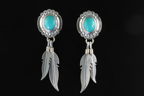 Vintage Skyway Trading Co sterling silver and turquoise feather drop dangle earrings, southwestern style, blue, beautiful