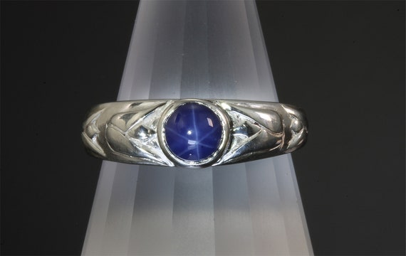 Sterling Silver Tulip Ring with Created Blue Star Sapphire