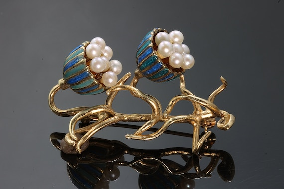 14K Gold, Pearl and Enameled Bluebell Vintage Brooch